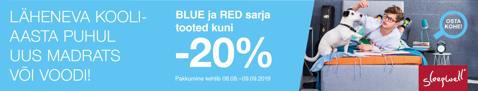 Sleepwell Blue ja Red sarja tooted kuni -20%