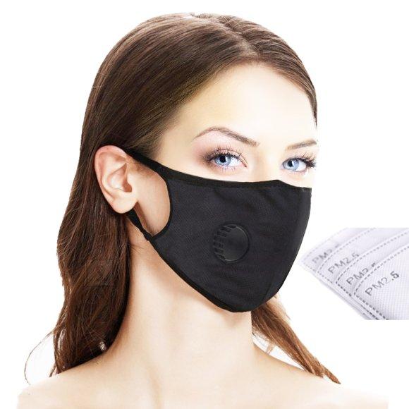 Kahekiline ventiiliga mask - filtriga, must