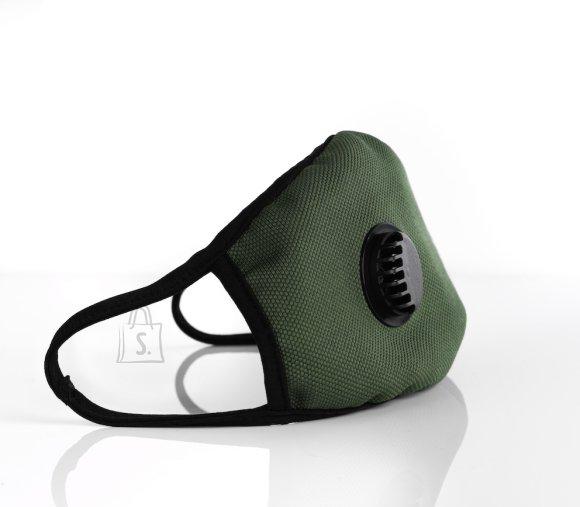 Kahekiline ventiiliga mask - filtriga, khaki
