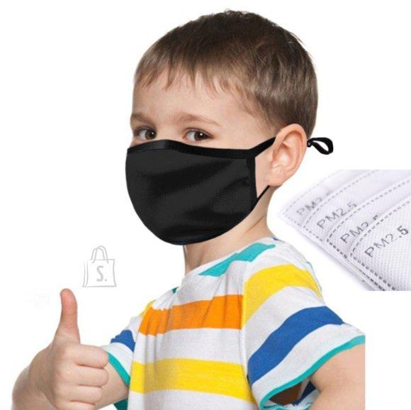 Laste näomask - filtriga, must