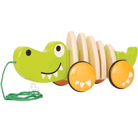 Hape järelveetav puidust krokodill