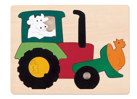 Hape puidust pusle Traktor, 11-osaline