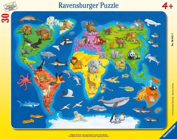 Ravensburger pusle Maailma kaart loomadega 30tk
