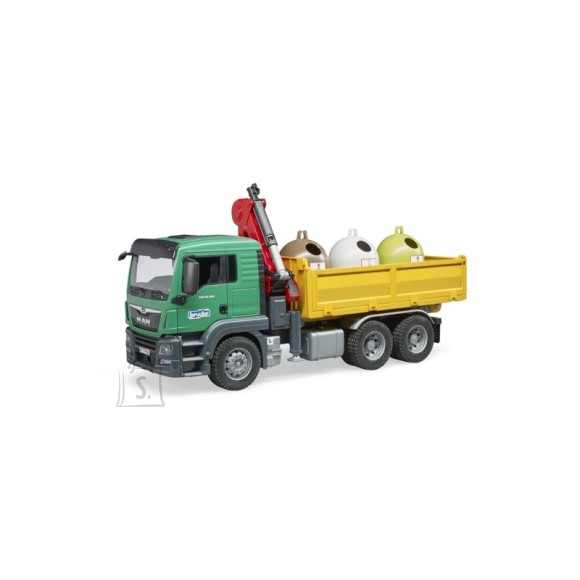 BRUDER MAN TGS veoauto  3 klaasi ümbertöötluse konteinerit ja pudelid, 3753