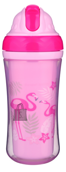 CANPOL BABIES joogitops silikoonist kõrrega Flamingo 260ml, 74/050