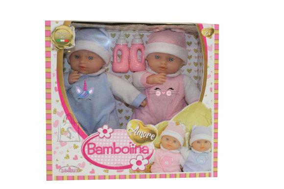 BAMBOLINA kaksiknukk Amore, 28cm, kahe pudeliga, BD1837