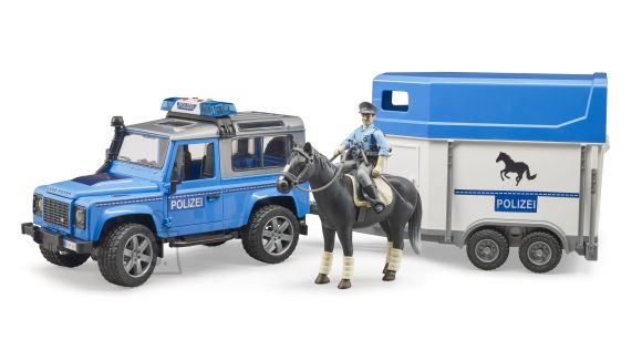 BRUDER auto Land Rover Defender, politsesõiduk bobusehagisega, hobune politseinukuga, 02588