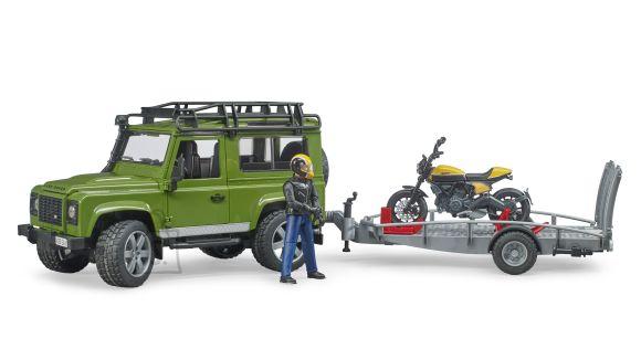 BRUDER Land Rover Defender, haagis Scrambler Ducati täisgaasiga, 02589