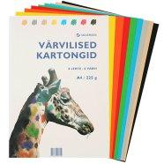 SULEMEES Värviline kartong KASKAD A4 225gr, komplektis 8 lehte