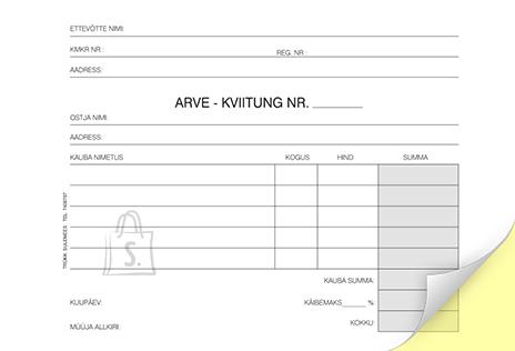 SULEMEES Arve-kviitung A6 laiuti, 2x50 lehte, isekopeeruv