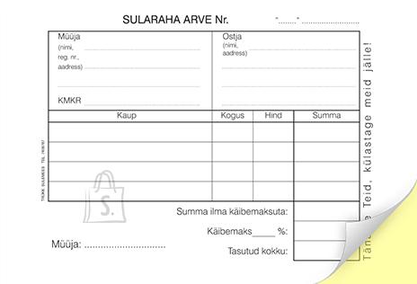 SULEMEES Sularaha arve + kassa sissetuleku order A6, isekopeeruv 2x50