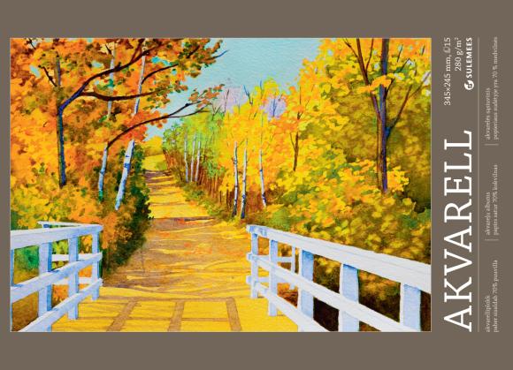 SULEMEES Akvarellplokk 280gr, 34,5*24,5cm, 72% puuvilla, 15 lehte