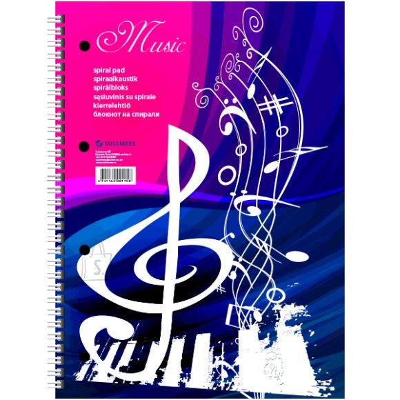 """SULEMEES Spiraalkaustik """"Music"""", A4, 50 noodijoontega lehte, perfo + augud"""