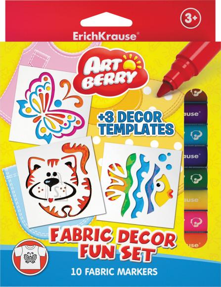 ErichKrause Tekstiilimarkerid Artberry, 10 värvi + 3 šablooni