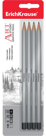 ErichKrause Harilik pliiats  ART-STUDIO (HB,B,2B,4B), 4tk riputuspakis