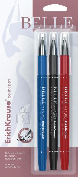 ErichKrause Geelpliiats BELLE 0.5mm, 3tk riputuspakendis(must,sinine,punane)