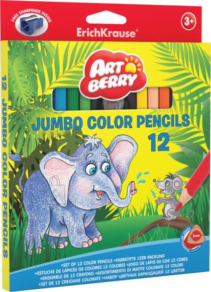 ErichKrause Värvipliiatsid, kolmnurkne Artberry JUMBO, 12 värvi + teritaja