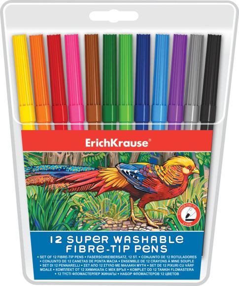 ErichKrause Viltpliiatsid Super Washable,12 värvi