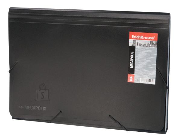 ErichKrause Lõõtsmapp nurgakummiga MEGAPOLIS A4, 12osa, must