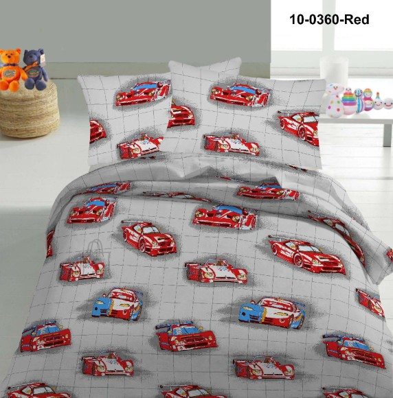 Tekstiilikompanii Voodipesukomplekt AUTOD 150x210 cm / 50x60 cm, punane
