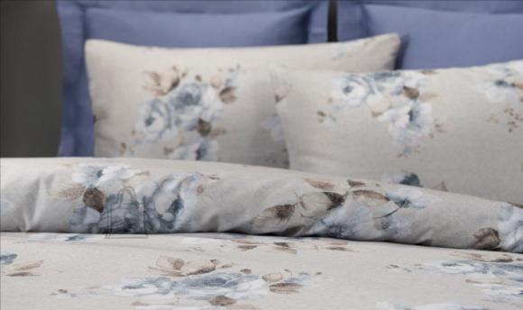 Tekstiilikompanii Voodipesukomplekt puuvill-satään 220x210, 2x 50x60 cm / GISELLE sinine-hall