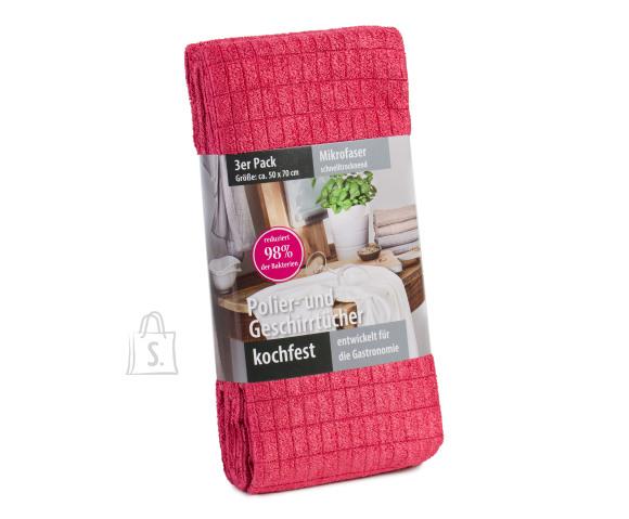 Tekstiilikompanii Köögirätik mikrokiud 50x70 cm, 3 tk pakis, bordoo