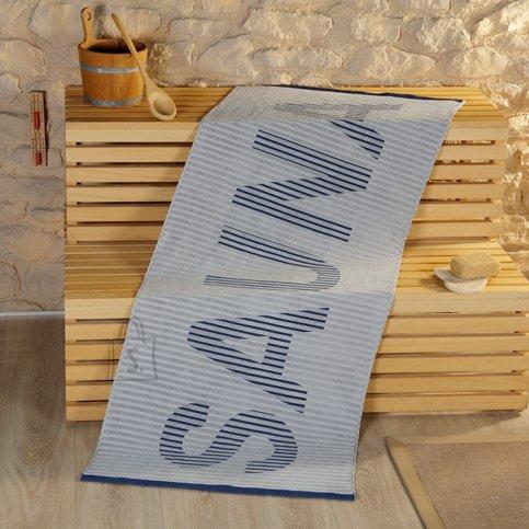 Tekstiilikompanii Saunalina 80x200 cm, sissekootud kirjaga SAUNA, sinine