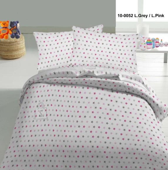 Tekstiilikompanii Voodipesukomplekt lastele 102x120, 40x60 cm / TÄHED roosad-hallid