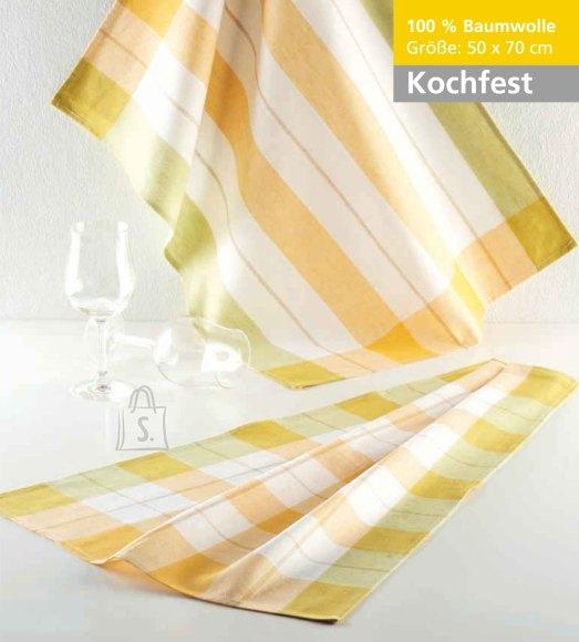 Tekstiilikompanii Köögirätik KOCHFEST 50x70 cm, 100% puuvill, 10tk pakis, kollane-roheline