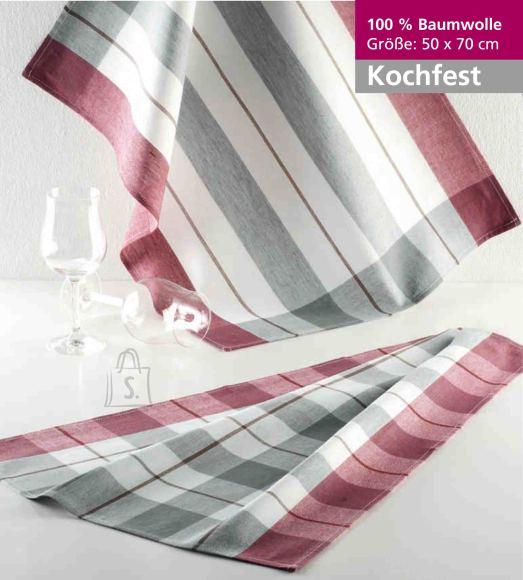 Tekstiilikompanii Köögirätik KOCHFEST 50x70 cm, 100% puuvill, 10tk pakis, bordoo-hall