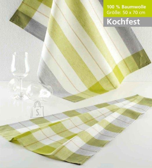 Tekstiilikompanii Köögirätik KOCHFEST 50x70 cm, 100% puuvill, 10tk pakis, roheline-hall