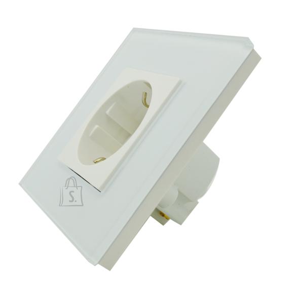 Klaasraamiga pistikupesa 16A, valge