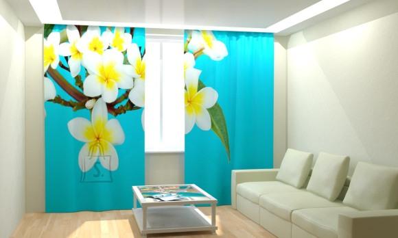 Fotokardinad Tropical Flowers Blue 300x260cm