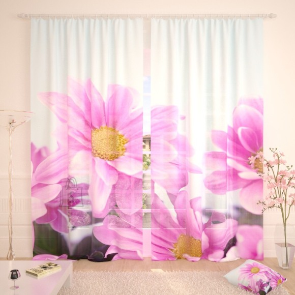 Tüllkardinad Purple Flowers 290x260cm