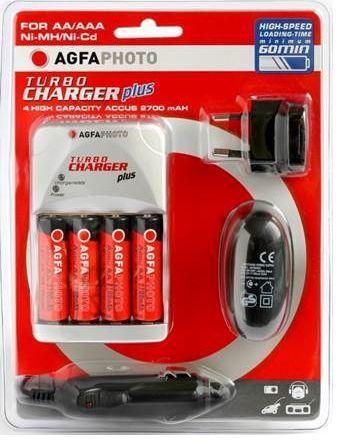 AgfaPhoto akulaadija + 4 x AA akut (140-802862)