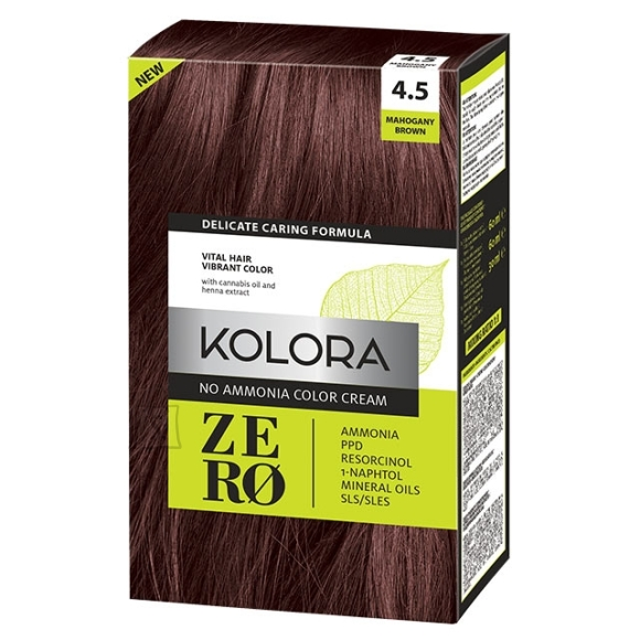 Kolora Zero 4.5 Pruun Mahagon, Ammoniaagivaba Juuksevärv, 60 ml