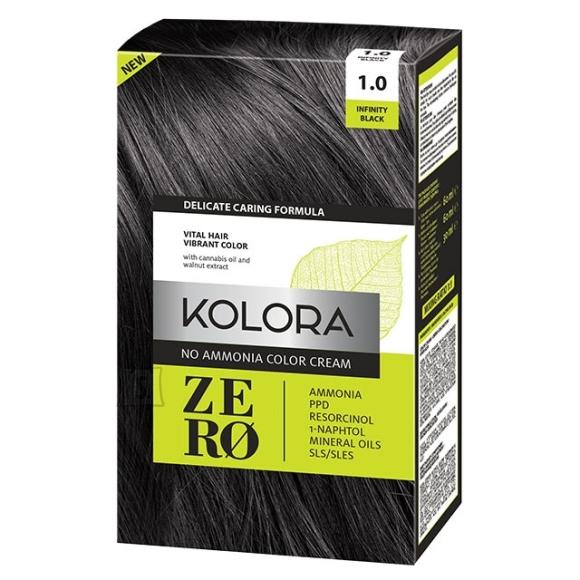 Kolora Zero 1.0 Must, Ammoniaagivaba Juuksevärv, 60 ml