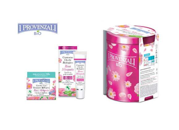 I Provenzali Bio Rosa Mosqueta orgaaniline näotoodete kinkekomplekt - niisutav näokreem (50 ml) ja silmaümbruskreem (15 ml)