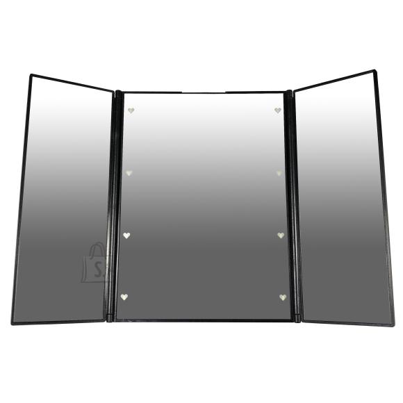 Gerard Brinard Väike Must Meigipeegel 8 X LED valgusega, lahti volditav (15x12x1 cm)