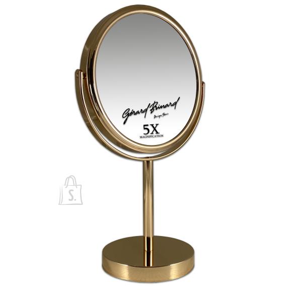 Gerard Brinard Kuldne Meigipeegel metallist, kahepoolne +5 X, Ø18 cm (33 x19x8 cm)