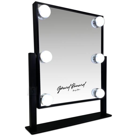 Gerard Brinard Must Hollywood Meigipeegel 6 X LED valgusega, metallist, elegantse ja õhukese disainiga (36x30x6 cm)