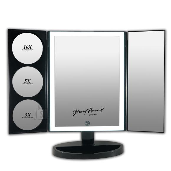 Gerard Brinard Must LED valgusega meigipeegel 1, 3, 5 ja 10X suurendusega (37x47x15 cm)
