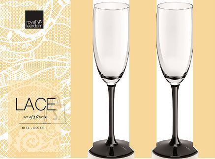 Royal Leerdam Šampusepokaalid Lace Black, 3 tk, 18 cl