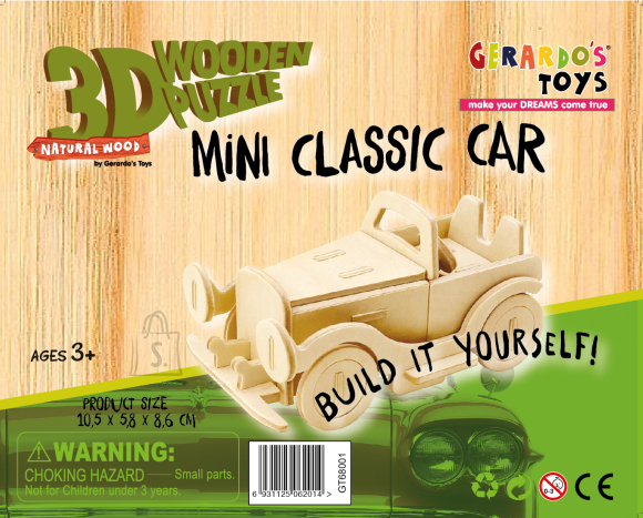 Gerardo's Toys puidust 3D pusle Auto 25tk