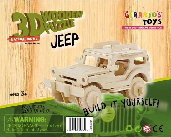 Gerardo's Toys puidust 3D pusle Jeep 38tk