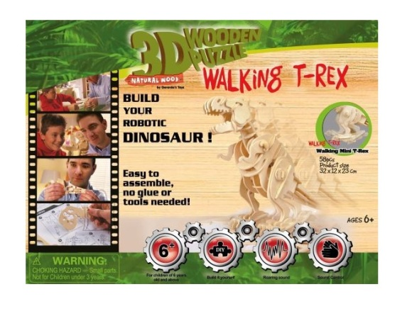 Gerardo's Toys puidust 3D pusle Plaksuga liikuv T-Rex 85 tk