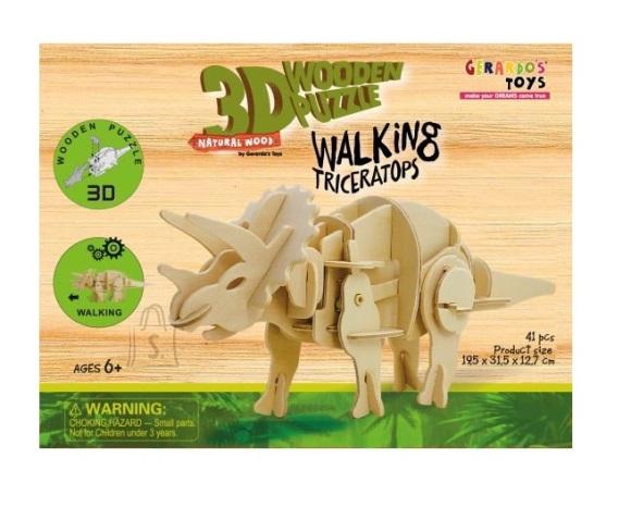 Gerardo's Toys puidust 3D pusle Liikuv Triceratops