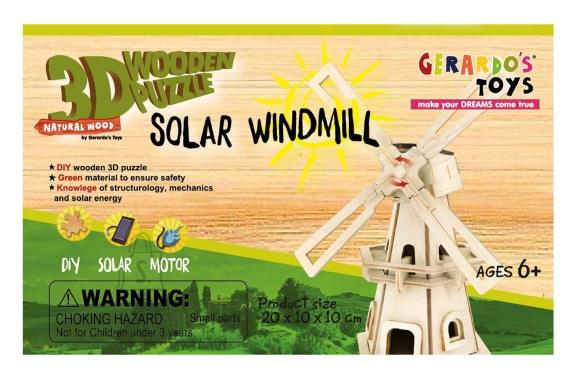 Gerardo's Toys puidust 3D pusle Solar Veski 32tk