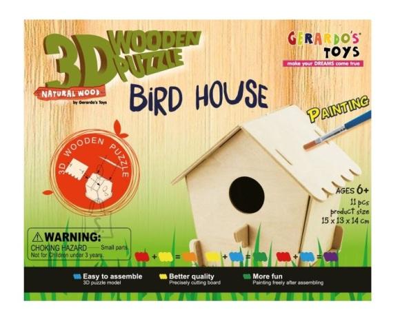 Gerardo's Toys puidust 3D pusle Linnumaja