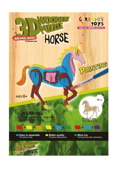 Gerardo's Toys puidust 3D pusle Värviline hobune